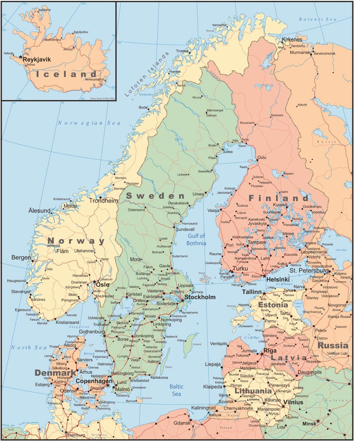 Danemark Landkarte Karte Von Danemark Und Den Umliegenden