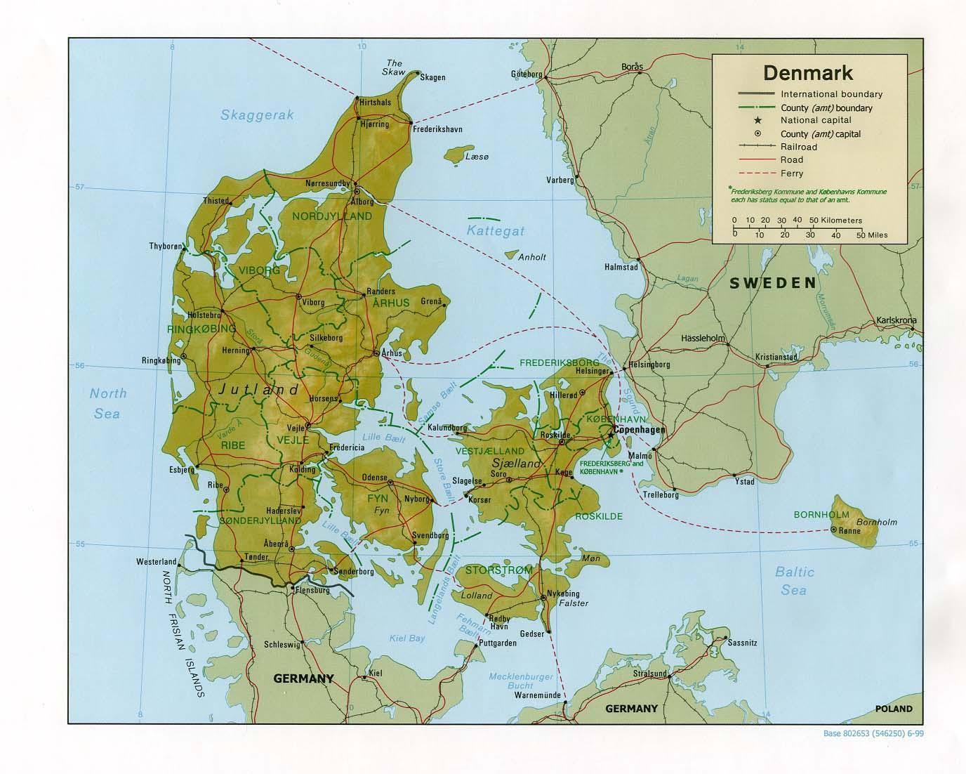 Europa Karte Physisch.Physische Karte Von Dänemark Karte Von Der Physischen Dänemark