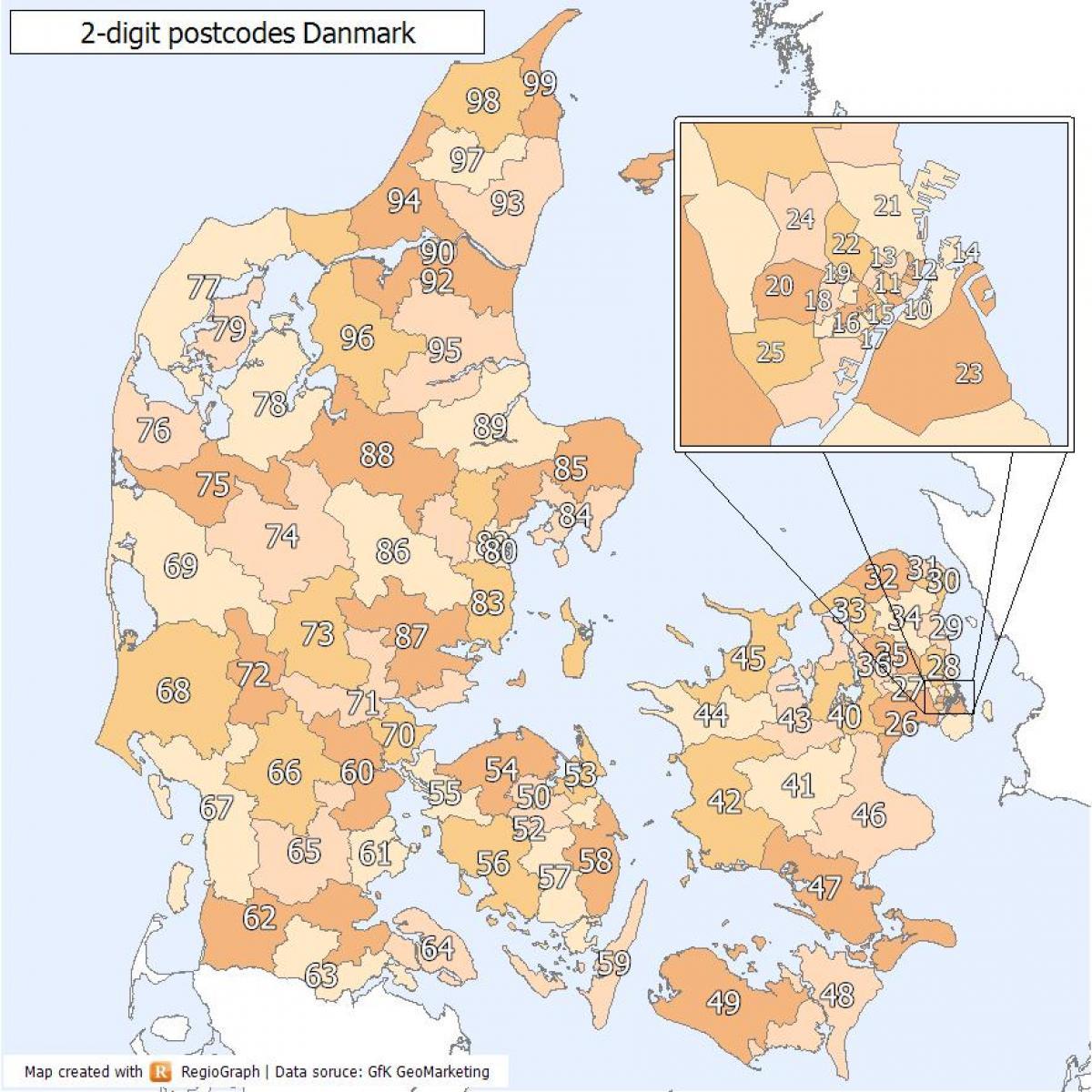 dänemark plz karte Dänemark PLZ Karte   Dänemark zip code Karte (Europa Nord   Europa)