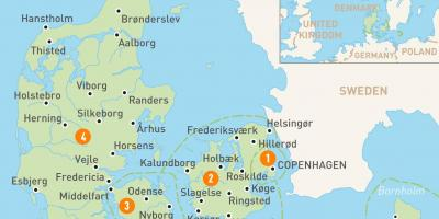 Dänemark topografische map - Karte von Dänemark, die topographische ...